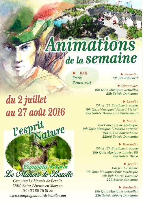 Animations camping le Manoir de Bezolle dans la Nièvre Bourgogne