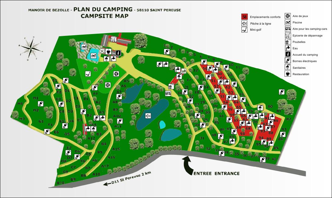 Plan du camping du Manoir de Bezolle en Bourgogne